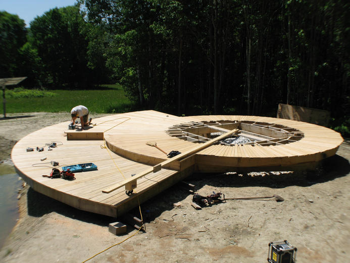 Smith & McClain, Yurt decking being built, VT