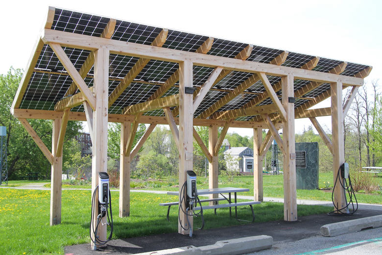 Timber Frame Ground Mount with Electric Vehicle Charging Stations