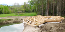Smith & McClain, Yurt decking foundation from the pond, VT